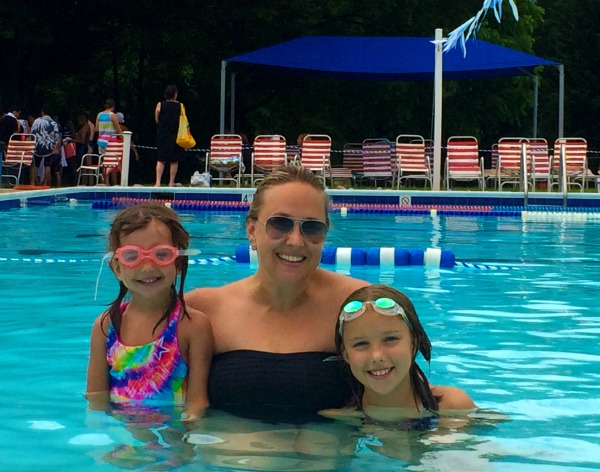at the pool with my kids